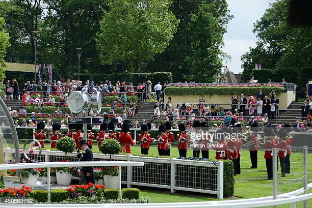 Military band perform in the Parade Ring during day three of Royal Ascot at Ascot Racecourse on June 19 2014 in Ascot England