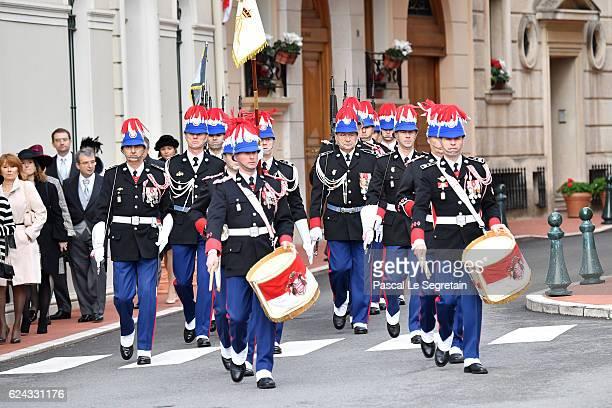 Military band play during the Monaco National Day Celebrations on November 19, 2016 in Monaco, Monaco.