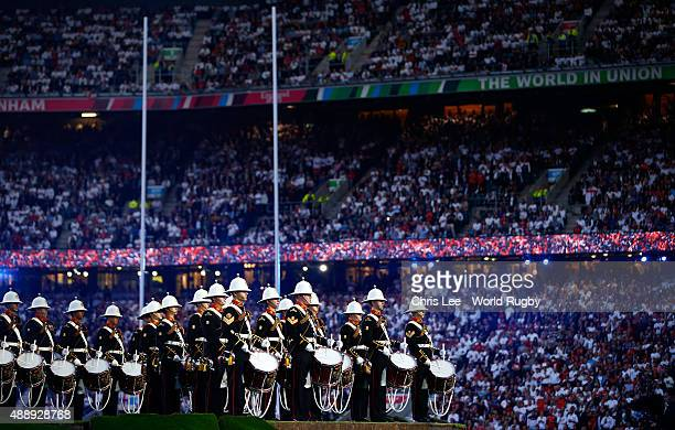 A military band plays during the opening ceremony ahead of the 2015 Rugby World Cup Pool A match between England and Fiji at Twickenham Stadium on...
