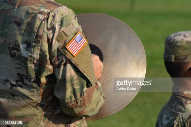 military band plays on graduation day - fort knox stock pictures, royalty-free photos & images