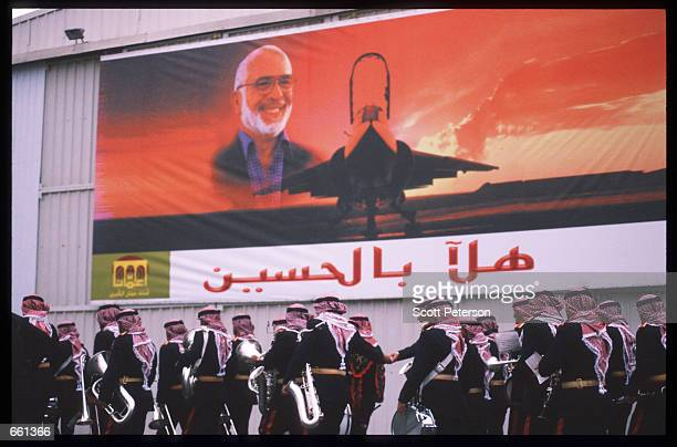 Military band prepares to greet King Hussein January 19 1999 in Amman Jordan King Hussein returns after spending six months at the Mayo clinic in...