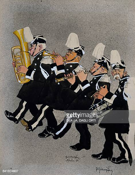 Military band with wind and percussion instruments caricature Austria 20th century
