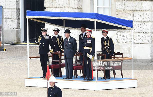 Military bands from the Royal Marines perform for Prince Phillip, Duke of Edinburgh during the Beating Retreat at Horse Guards Parade on May 26, 2016...