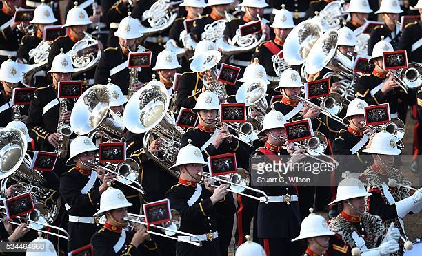 Military bands from the Royal Marines perform for Prince Phillip Duke of Edinburgh during the Beating Retreat at Horse Guards Parade on May 26 2016...