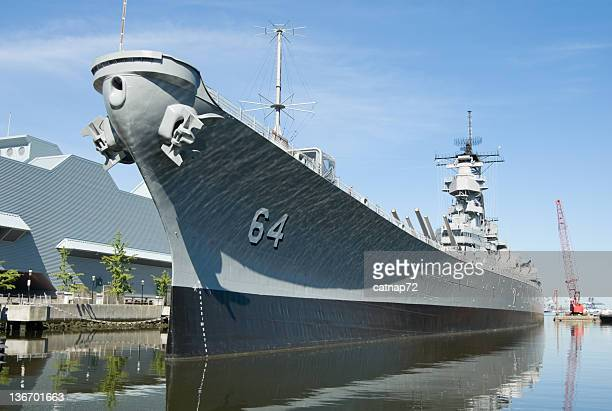 military battleship docked at norfolk, va, navy uss wisconsin - navy stock pictures, royalty-free photos & images