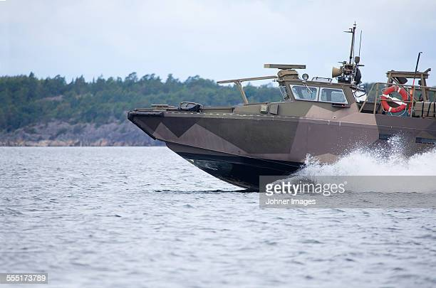 Military boat on water