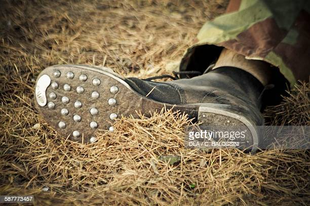 Military boot from the Wehrmacht with studded sole and iron reinforced toe and heel Second World War Historical reenactment