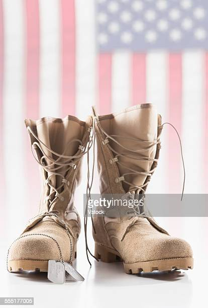 military boots with dog tags - military dog tags stock pictures, royalty-free photos & images