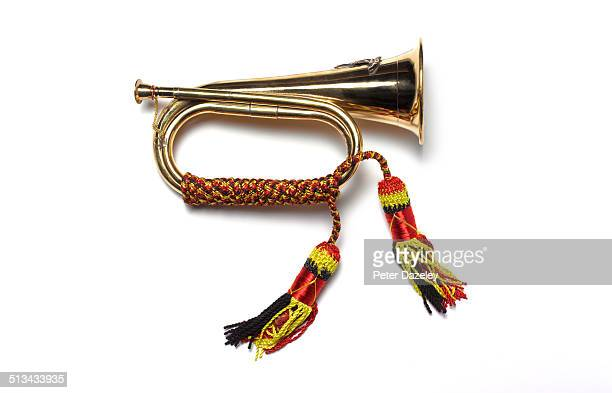 Military bugle on white background