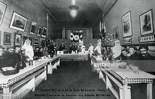 Military canteen Gare St Lazare Paris World War I 19141918 Aid for wounded French servicemen French postcard