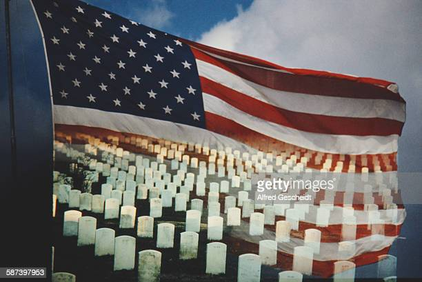 A military cemetery superimposed over the flag of the United States 1988
