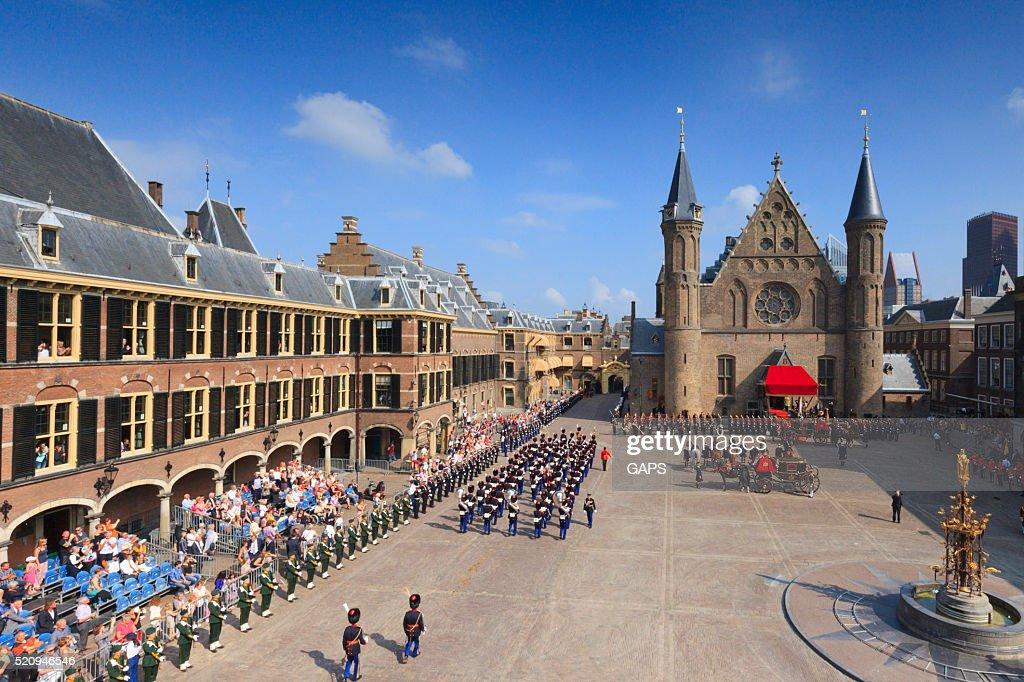 military ceremony on Binnenhof during Prinsjesdag in The Hague : Stock Photo