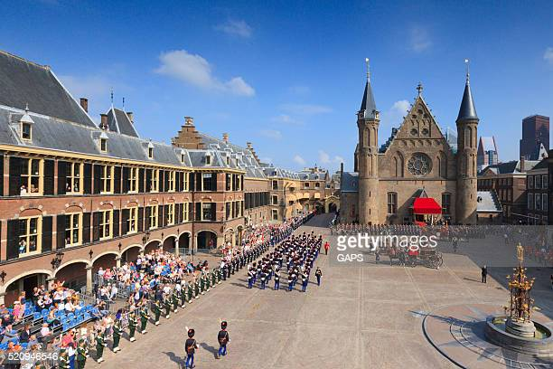 military ceremony on binnenhof during prinsjesdag in the hague - binnenhof stock photos and pictures