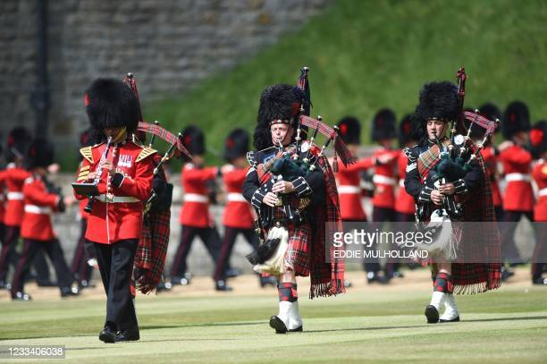 Military ceremony unfolds in the Quadrangle to mark the official birthday of Britain's Queen Elizabeth II at Windsor Castle on June 12, 2021 in...