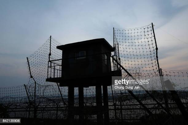 Military check point is seen next to the road to Imjingak near the Demilitarized zone separating South and North Korea on September 3 2017 in Paju...