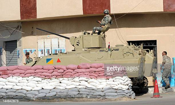 Military checkpoint is seen in the city center of el Arish, the capital of North SInai located about 220 miles away from the Egyptian capital Cairo.