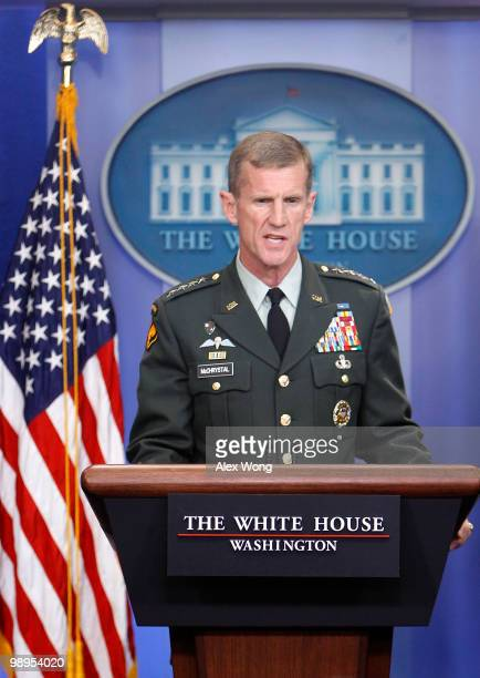US military commander in Afghanistan General Stanley McChrystal speaks during the White House daily briefing May 10 2010 at the White House in...
