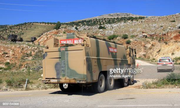 A military convoy of Turkish Armed Forces moves to the 12th observation point in Istabraq village near the Jisr alShughour in southwestern rural of...
