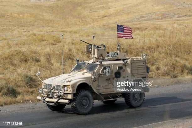 Military convoy of US forces makes its way through Erbil after passing through the Semalka Border Crossing, in Iraq on October 21, 2019. The U.S. Has...