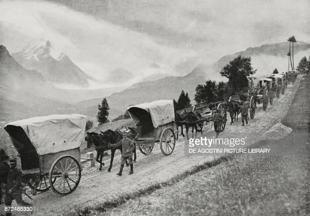 Military convoy on the streets of Falzarego Cortina d'Ampezzo basin Veneto Italy World War I photo by Aldo Molinari from L'Illustrazione Italiana...