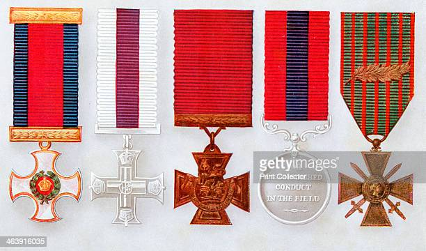 Distinguished Service Order Military Cross Victoria Cross Distinguished Conduct Medal Far right French Croix de Guerre