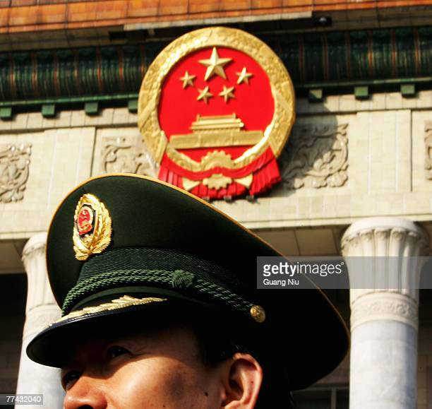 Military delecate arrives at the Great Hall of the People for the Chinese Communist Party Congress on October 21 2007 in Beijing China The Communist...