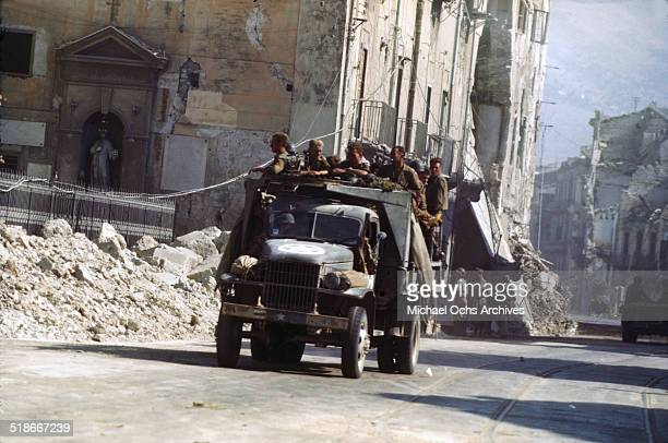 Military drive through the streets 5 days after winning the campaign 'Operation Husky' in Palermo Sicily Italy