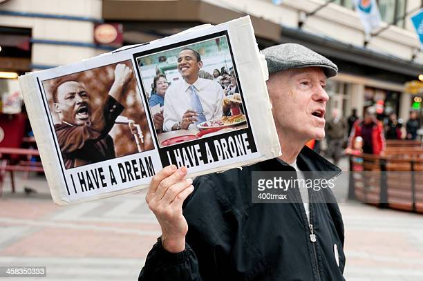 military drone protest - martin luther king stock pictures, royalty-free photos & images