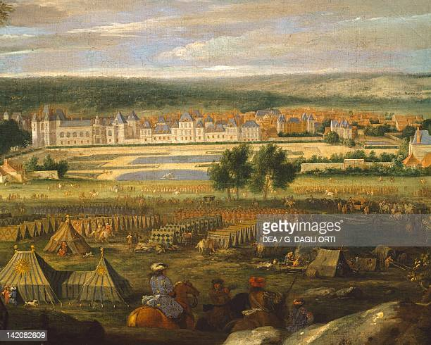 Military encampment in the forecourt in front of Fontainbleau Castle, by A. F. Van Der Meulen, France 17th Century.