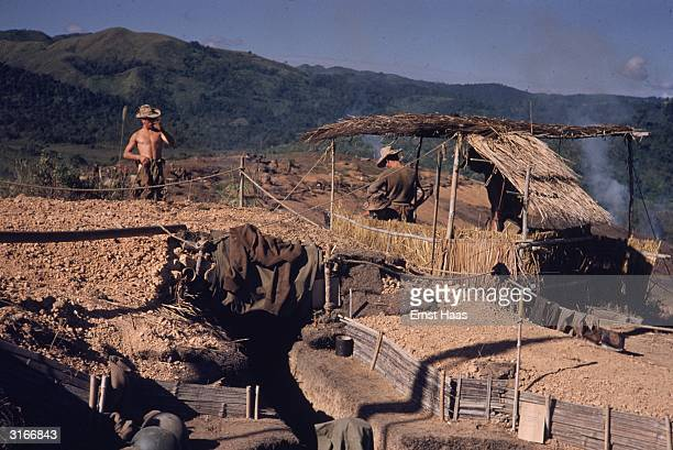 A military encampment of the French Foreign Legion at Dien Bien Phu in northwest Vietnam the site of a major battle between the French and the...