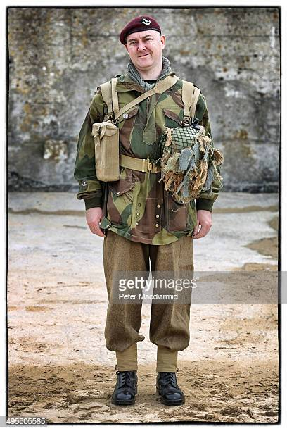 Military enthusiast David Cook from the United Kingdom wears a replica uniform of member of the British Army Ox and Bucks 6th Airborne Division on...