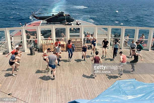 Military exercises on board the Cunard liner 'RMS Queen Elizabeth 2' which has been requisitioned as a British troopship during the Falklands War...