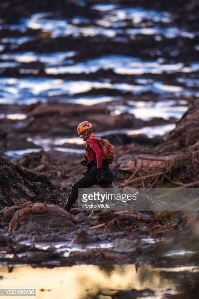 Military firefighters search for mud stricken people in Córrego do Feijão near the town of Brumadinho in the state of Minas Gerias in southeastern...