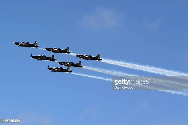 A military flypast as the funeral service of the former South African President Nelson Mandela takes place during his state funeral on December 15...