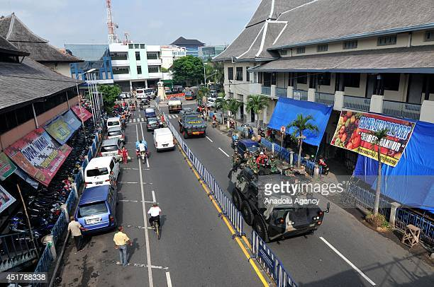 Military forces patrol during the security preparations for forthcoming presidential election in Surakarta Indonesia on July 7 2014 The Jakarta...
