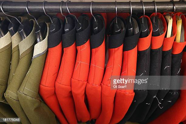 Military formal wear jackets await completion in G.D. Golding tailors, who hold a Royal Warrant for services to the Royal Household, on September 24,...