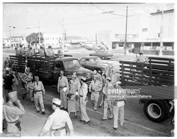 Military government games July 11 1951 Colonel Sidney F Dunn Richard Scammon Major General Milton B Halsey Colonel Arthur Campbell Colonel CC...