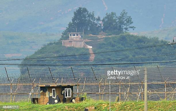 Military guard posts of South Korea and North Korea stand opposite each other as seen from in the border city of Paju on August 21 2015 North Korean...