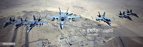 Gulf War Aerial view of US Marine F18 Hornet fighters during flyover Kuwait 3/5/1991 CREDIT Neil Leifer