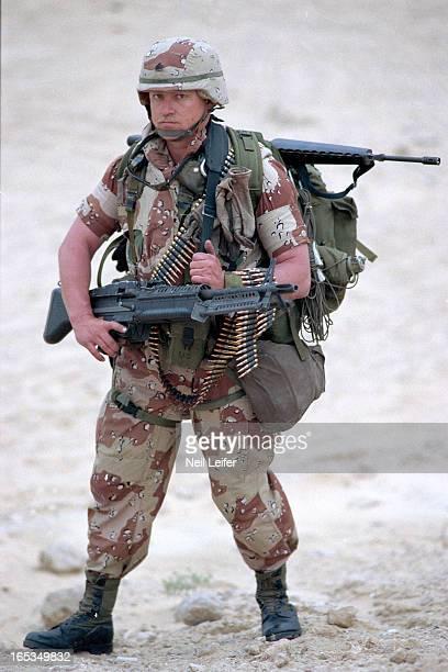 Gulf War Portrait of US Army Sergeant Duane Clemons wearing his battle gear during photo shoot Dhahran Saudi Arabia 2/24/1991 CREDIT Neil Leifer Set...