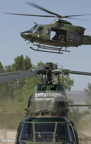 A military helicopter lands in Khwazakhela base in northwest Pakistan on May 22 2009 Two days ago pakistani troops took control of a mountain used by...