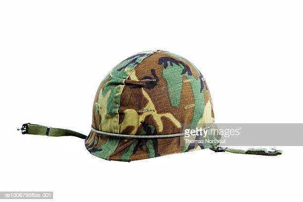 Military helmet on white background