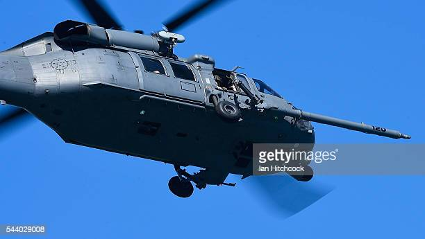 S military HH60 Pave Hawk Helicopter is seen flying over a simulated crash site during Exercise Angel Reign on July 1 2016 in Townsville Australia...