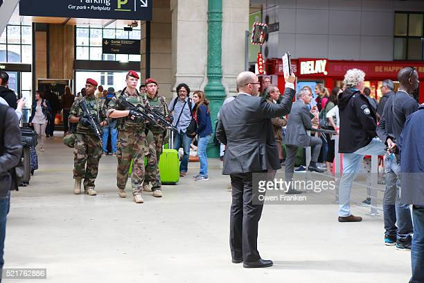 military hightened security presence in Gare du Nord, Paris