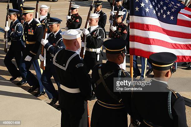 S military honor cordon prepares to welcome Qatar Minister of State for Defense Affairs Hamad bin Ali Al Attiyah to the Pentagon October 23 2015 in...
