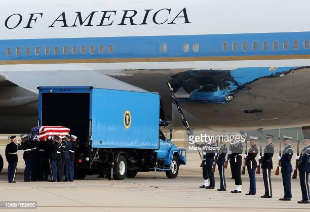 S Military honor guard carries casket of former US President George HW Bush before it is loaded onto a US Air Force 747 that is being called 'Special...