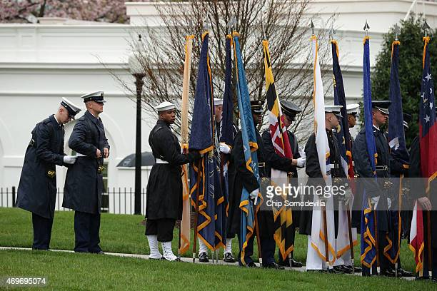 S military honor guard prepares for the arrival of Iraqi Prime Minsiter Haider AlAbadi at the White House April 14 2015 in Washington DC AlAbadi will...