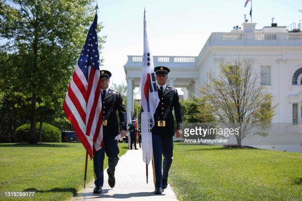 Military honor guardsmen rehearse before the arrival of Korean President Moon Jae-in at the White House on May 21, 2021 in Washington, DC. Moon...