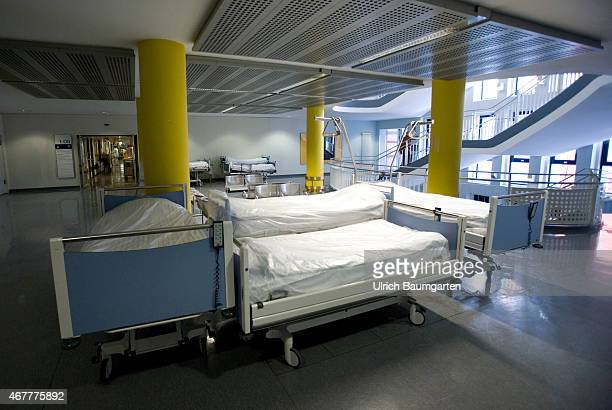 Military Hospital of the Federal Armed Forces in Koblenz Empty hospital beds on a corridor