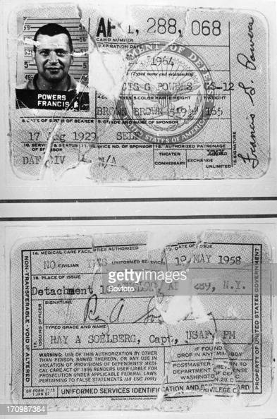 military identification card front and back of francis gary powers
